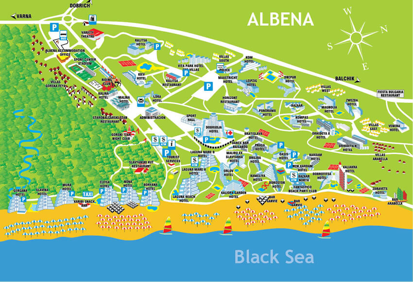 albena mapa destinacia