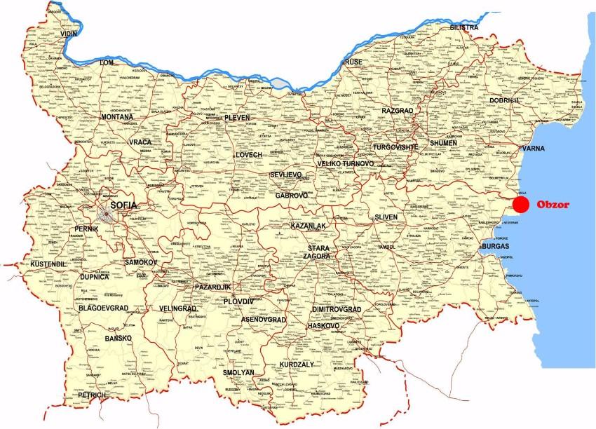 Mapa Obzor Bulharsko